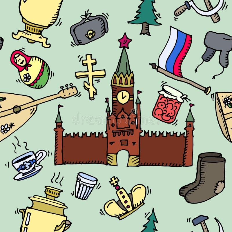 Картина значков России нарисованных вручную иллюстрация вектора