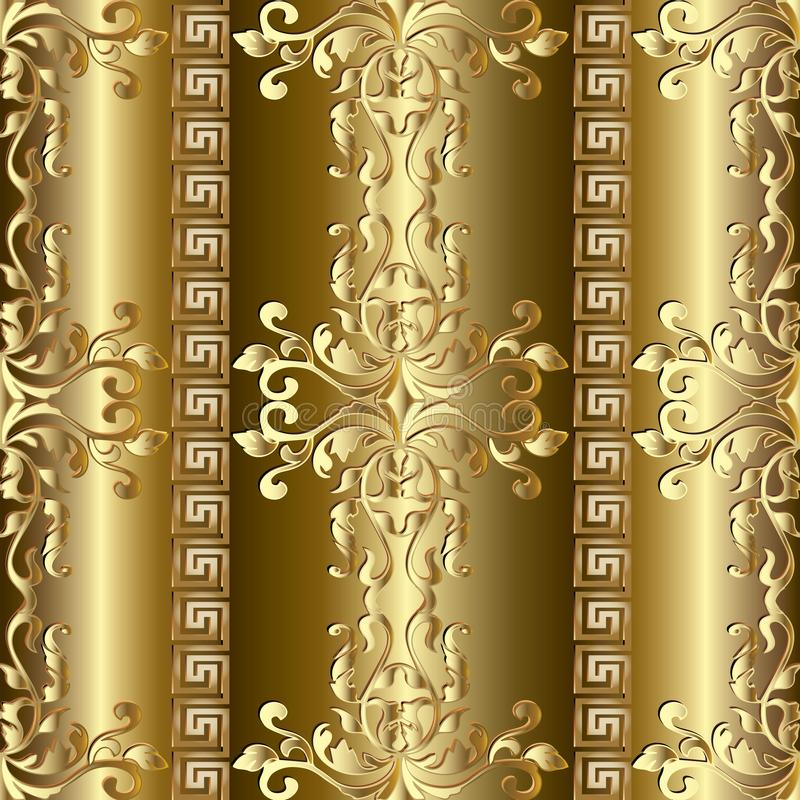 Картина золота барочная безшовная греческие орнаменты стоковая фотография rf