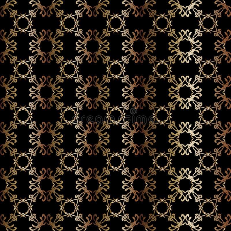 Картина золота безшовная геометрическая на черной предпосылке иллюстрация вектора
