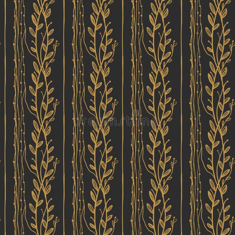 Картина золотого винтажного флористического вектора безшовная на темной предпосылке иллюстрация вектора
