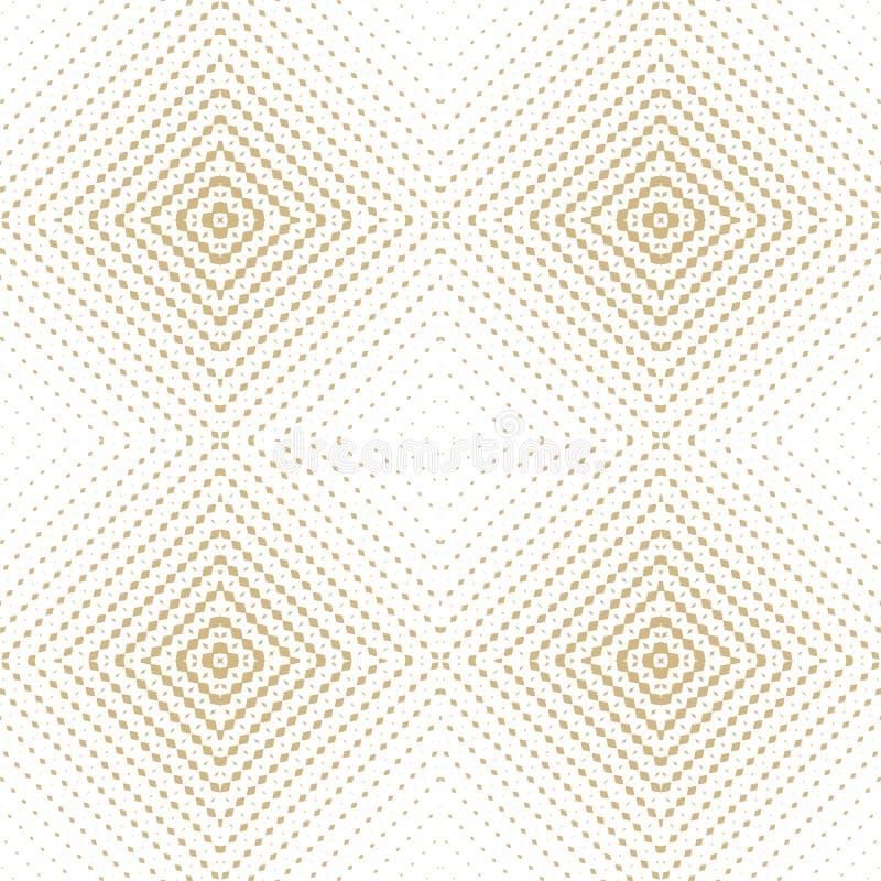Картина золотого полутонового изображения вектора безшовная Радиальная текстура градиента с квадратами иллюстрация вектора