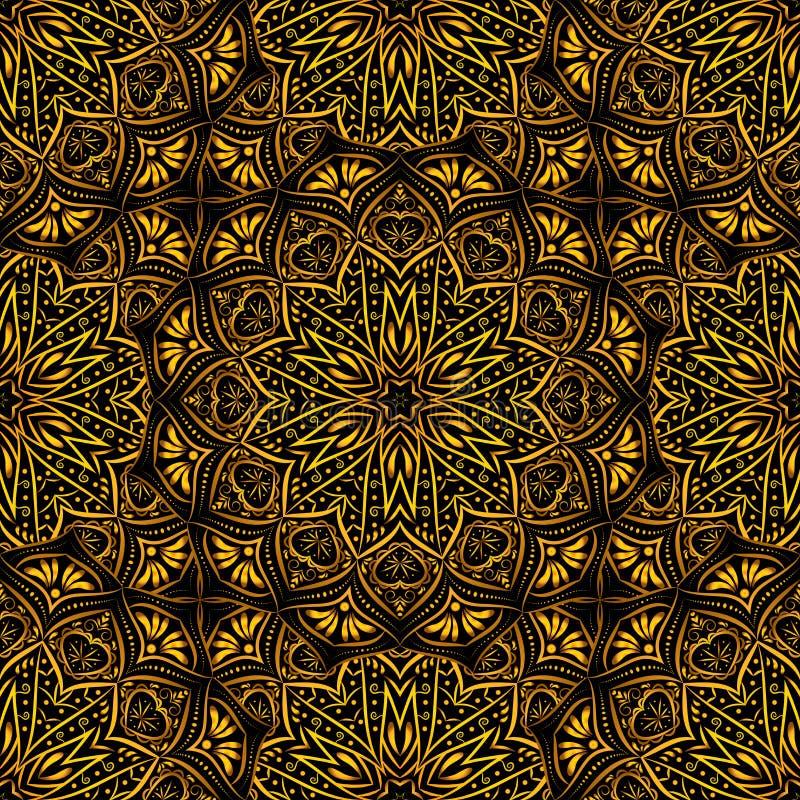 Картина золотой мандалы безшовная на черной предпосылке бесплатная иллюстрация