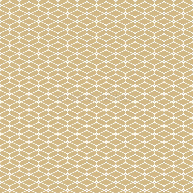 Картина золотой сетки безшовная Золото вектора и белый роскошный геометрический орнамент иллюстрация вектора