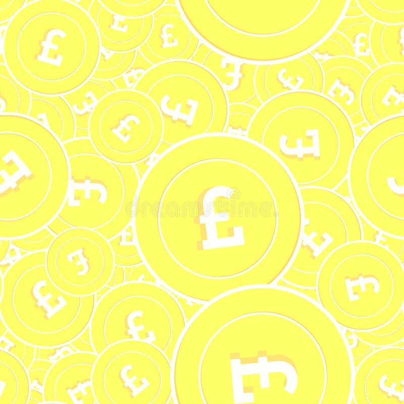Картина золотых монет английского фунта безшовная Заколдовывайте иллюстрация вектора