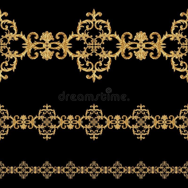 Картина золотых орнаментальных этапов стиля барокко безшовная Рамка границы золота руки вычерченная стоковое фото rf