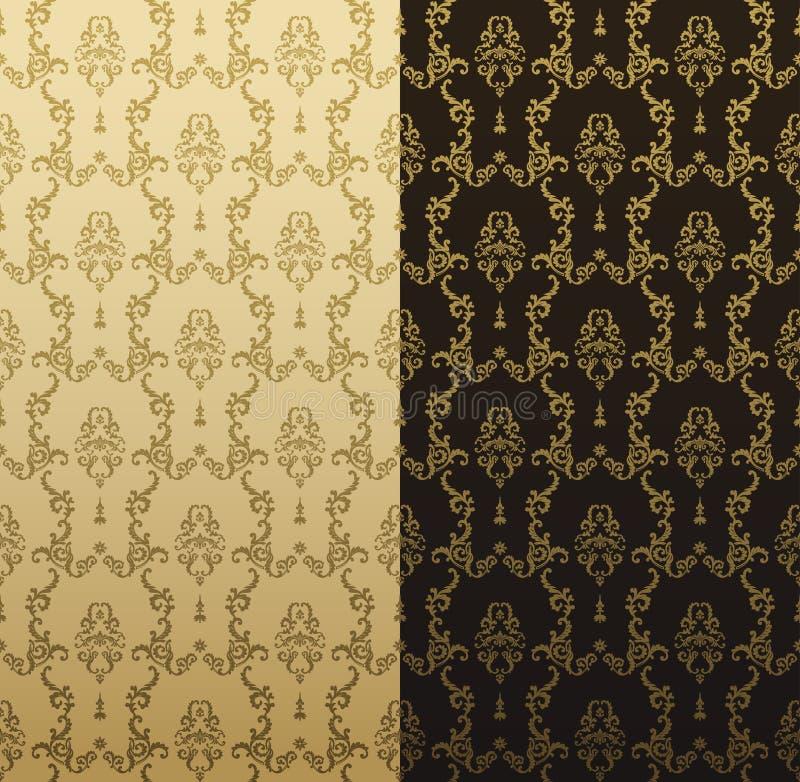 Картина золота вектора безшовная с орнаментом искусства Винтажные элементы для дизайна в викторианском стиле Орнаментальный trace бесплатная иллюстрация