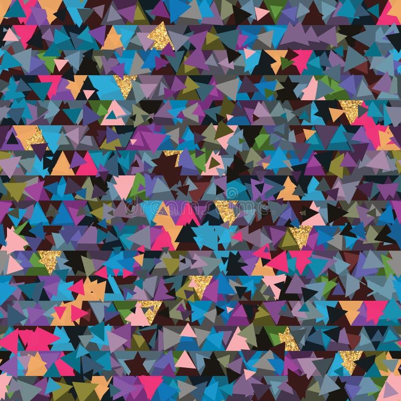 Картина золотого яркого блеска части треугольника безшовная иллюстрация штока