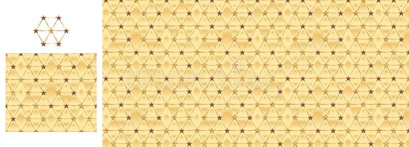 Картина золотого яркого блеска шоколада звезды шестиугольника безшовная иллюстрация штока