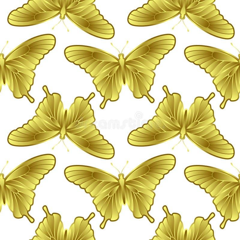 Картина золотой бабочки безшовная бесплатная иллюстрация