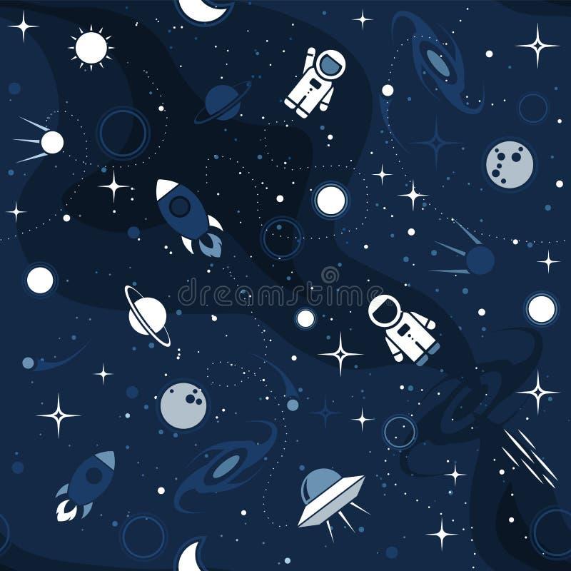 Картина дизайна космоса вектора плоская безшовная иллюстрация вектора