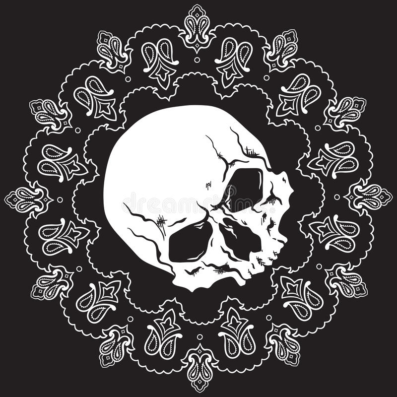 Картина дизайна Bandana с черепом также вектор иллюстрации притяжки corel иллюстрация вектора