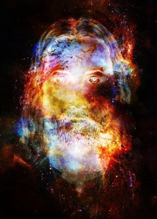 Картина Иисуса Христоса с излучающей красочной энергией света в космическом космосе, визуальном контакте иллюстрация штока