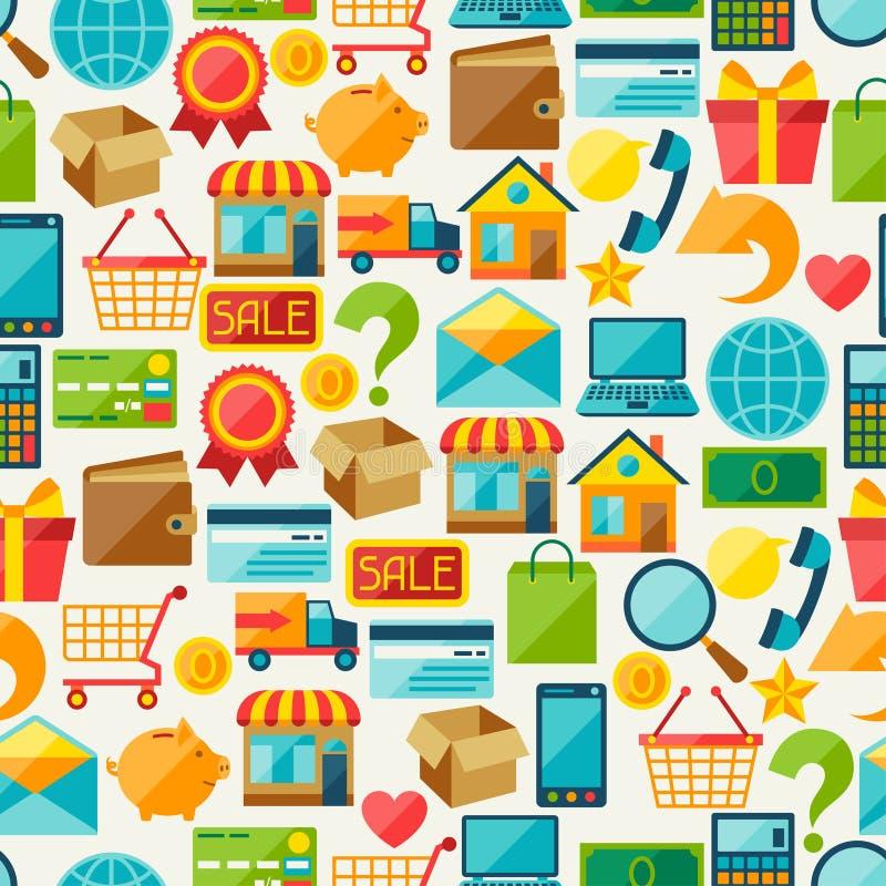 Картина интернета ходя по магазинам безшовная иллюстрация вектора