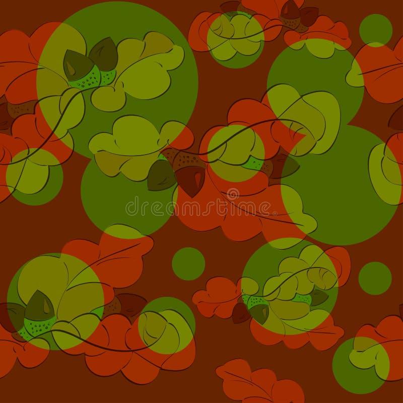 Картина листьев и жолудей дуба безшовная бесплатная иллюстрация