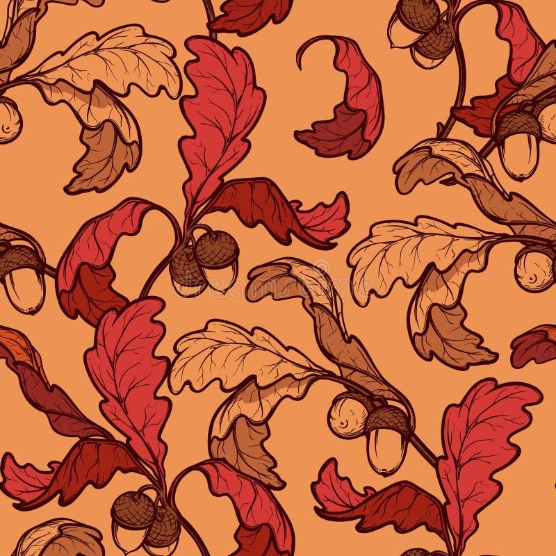 Картина листьев и жолудей дуба осени безшовная иллюстрация штока