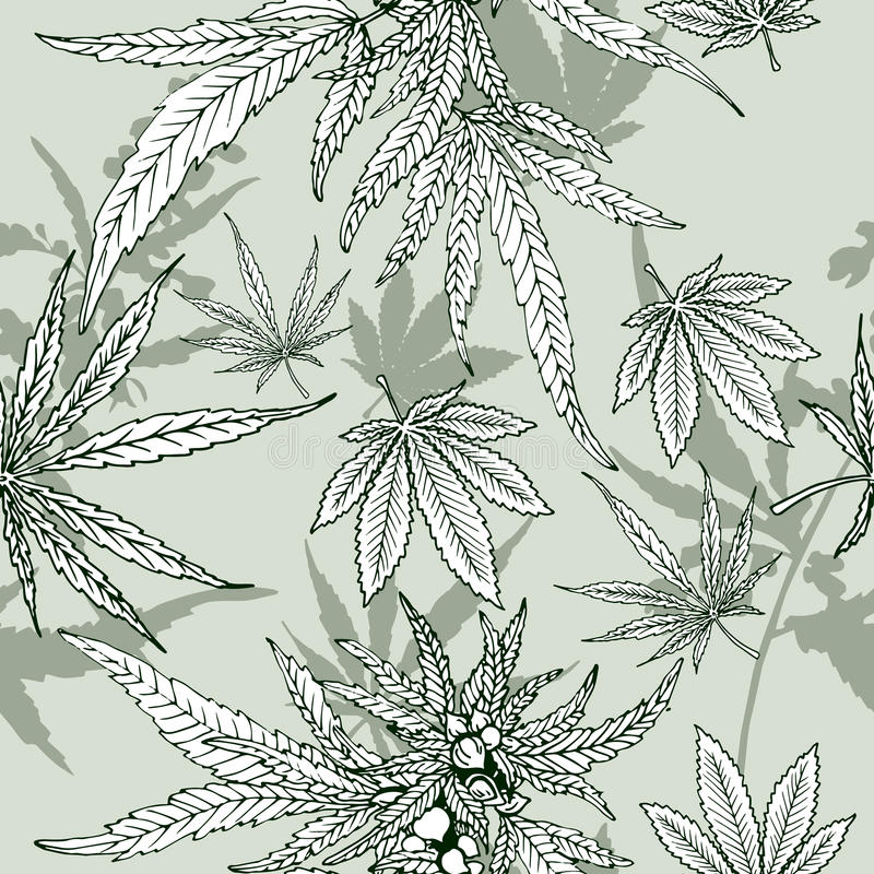 Картина лист конопли безшовная бесплатная иллюстрация