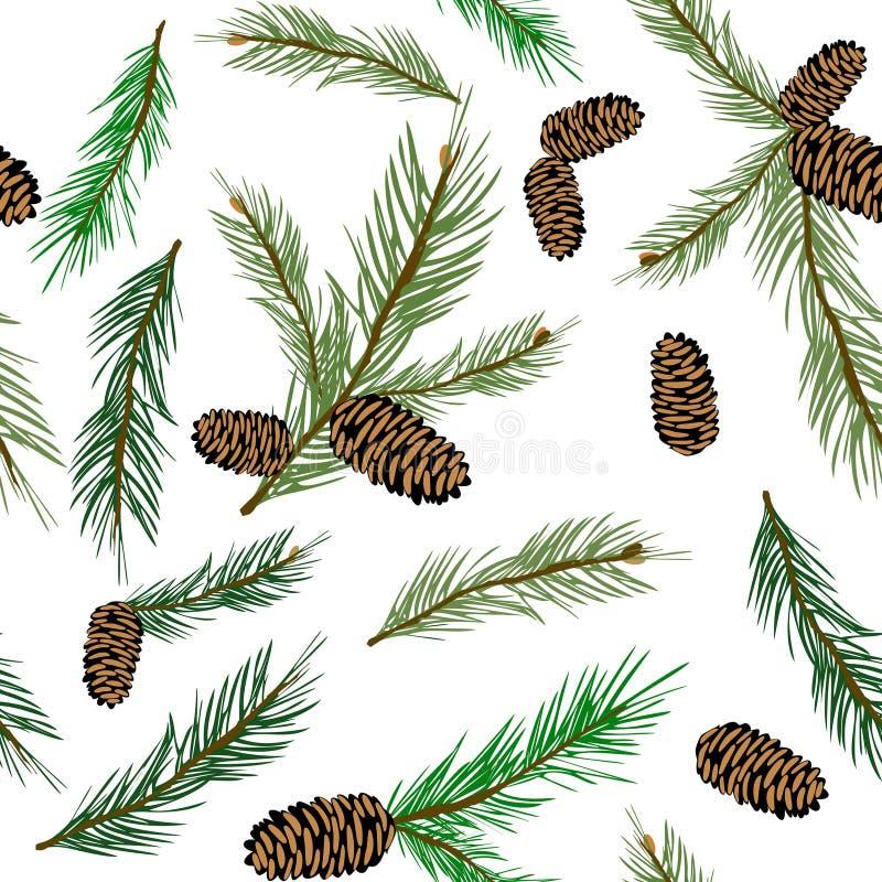 Картина иллюстрации вектора безшовная с ветвью pinecone Природа древесины конуса сосны иллюстрация штока