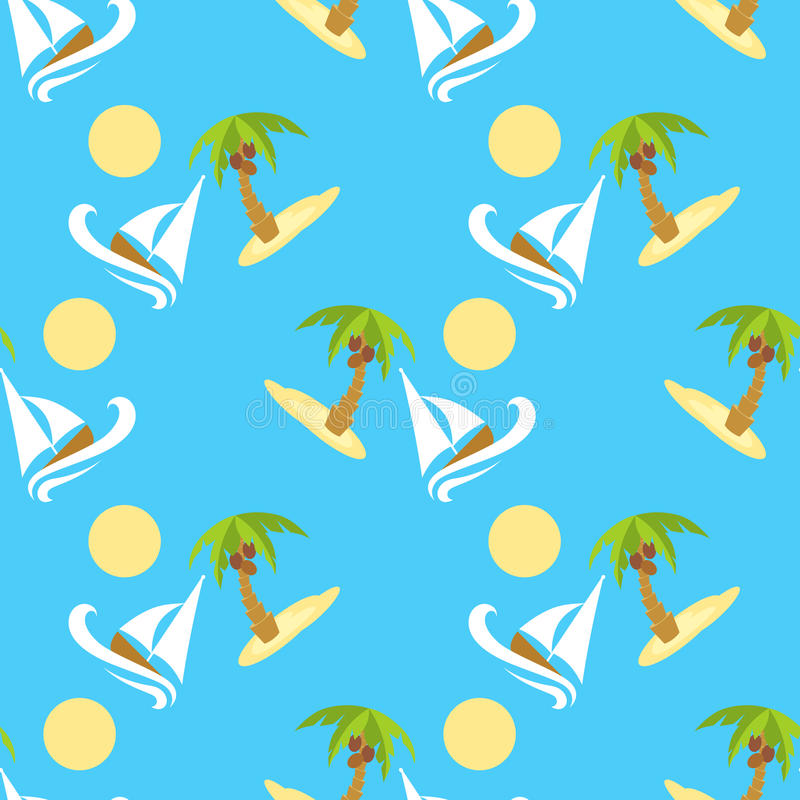 Картина иллюстрации вектора безшовная для путешествовать Тропический остров с пальмой и шлюпкой иллюстрация штока