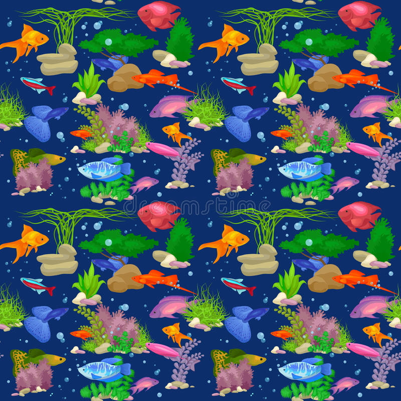 Картина иллюстрации вектора рыб аквариума безшовная иллюстрация вектора