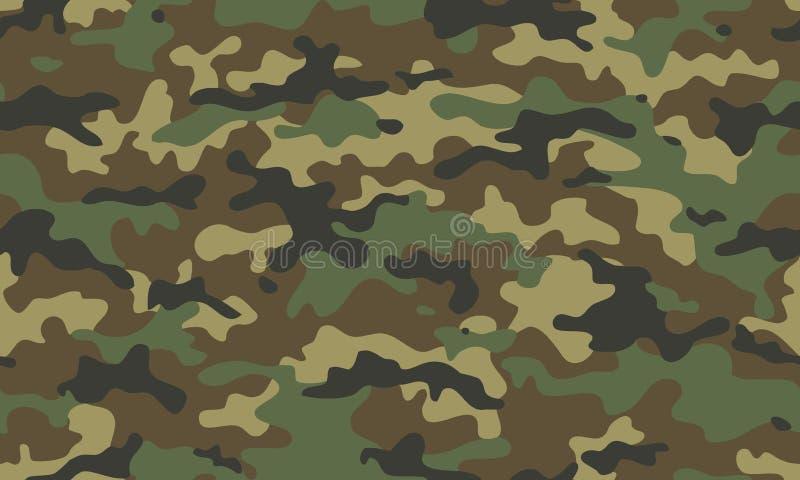 Картина камуфлирования безшовная Ультрамодное camo стиля, повторение r Хаки текстура, военное звероловство зеленого цвета армии иллюстрация штока