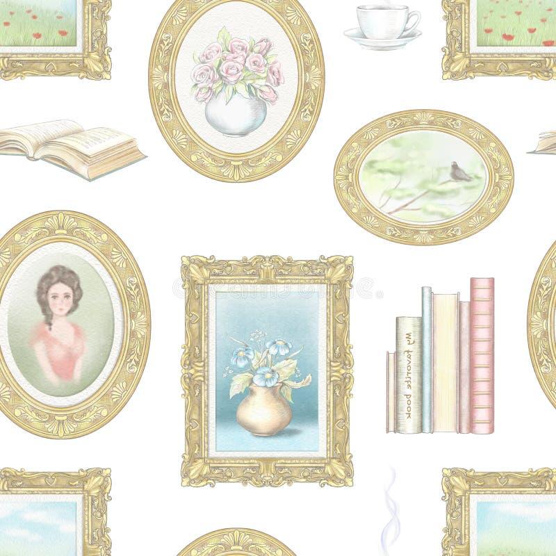 Картина карандаша акварели и руководства графическая безшовная с винтажными вещами бесплатная иллюстрация