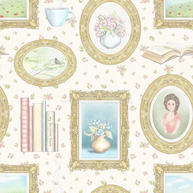 Картина карандаша акварели и руководства графическая безшовная с винтажными вещами на флористических обоях бесплатная иллюстрация