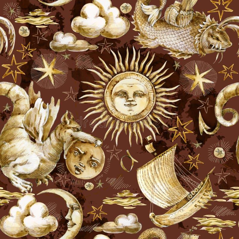 Картина карты пирата безшовная Морские элементы дизайна иллюстрации акварели ретро морские бесплатная иллюстрация