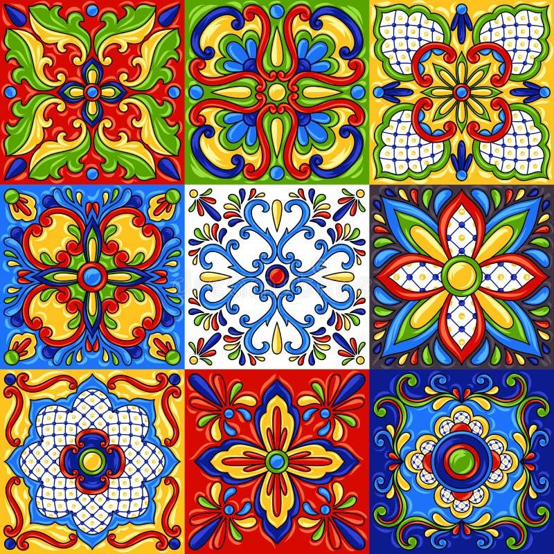 Картина керамической плитки talavera мексиканца безшовная иллюстрация штока