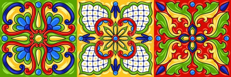 Картина керамической плитки talavera мексиканца иллюстрация штока