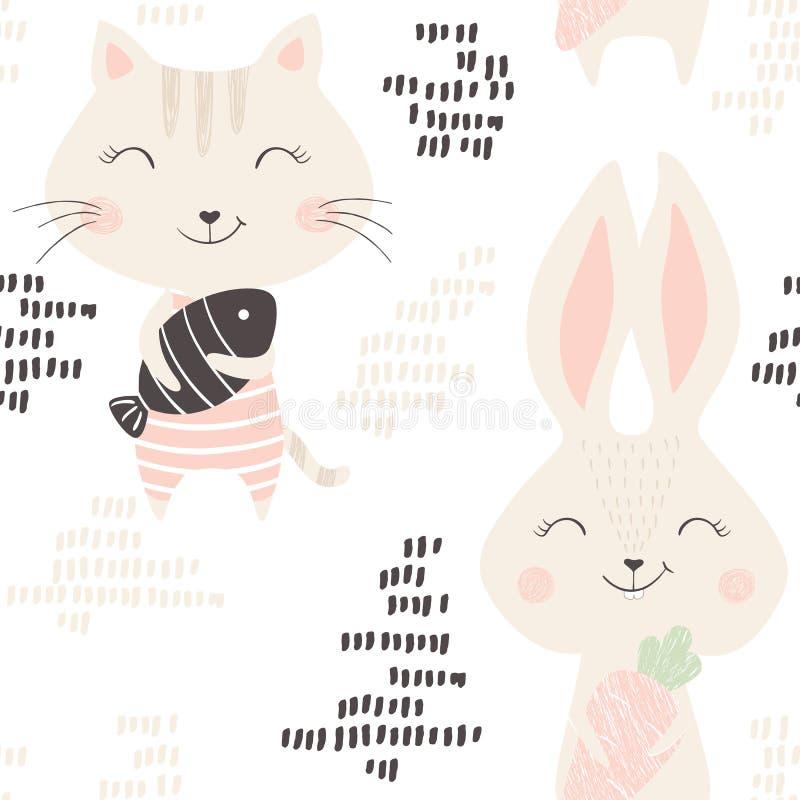 Картина киски и зайчика безшовная иллюстрация штока