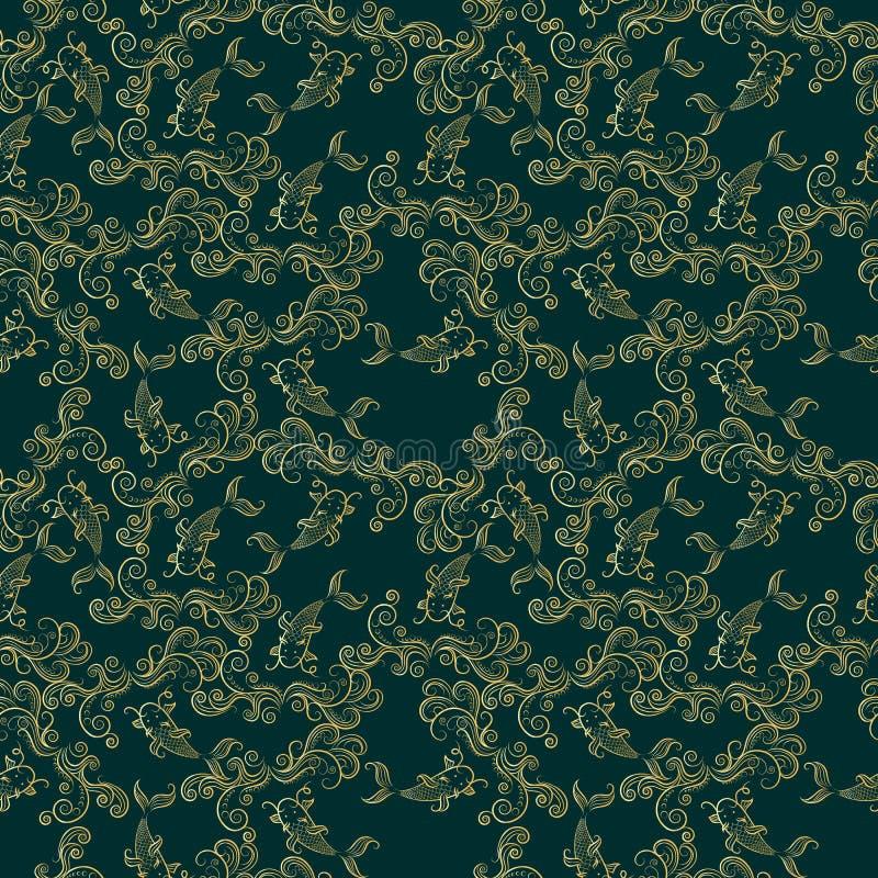 Картина китайского карпа Koi безшовная Предпосылка вектора глубокая ая-зелен с рыбами золота иллюстрация штока