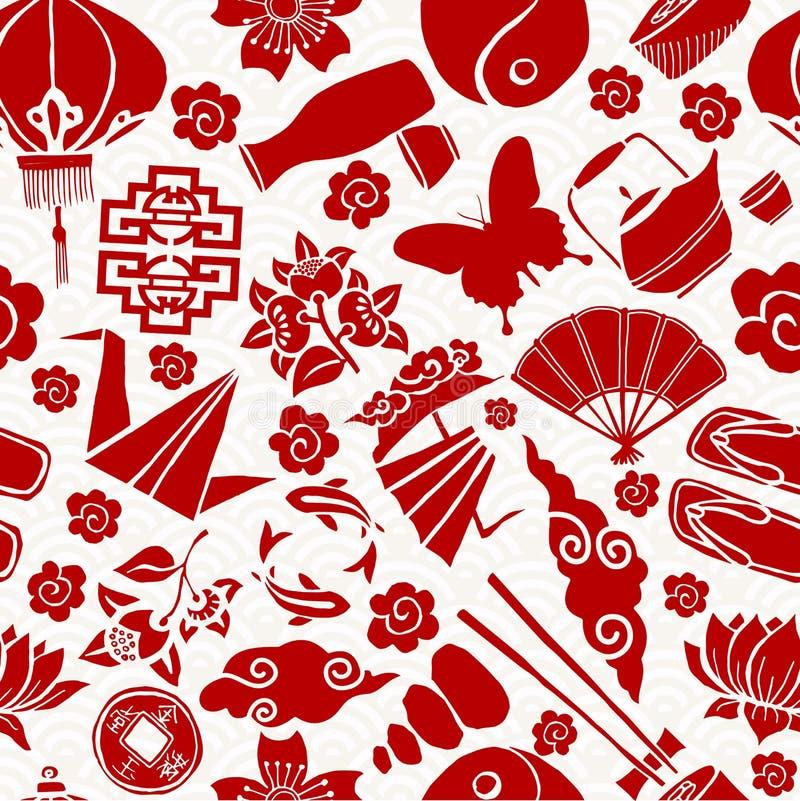 Картина китайской культуры Нового Года азиатской безшовная иллюстрация вектора