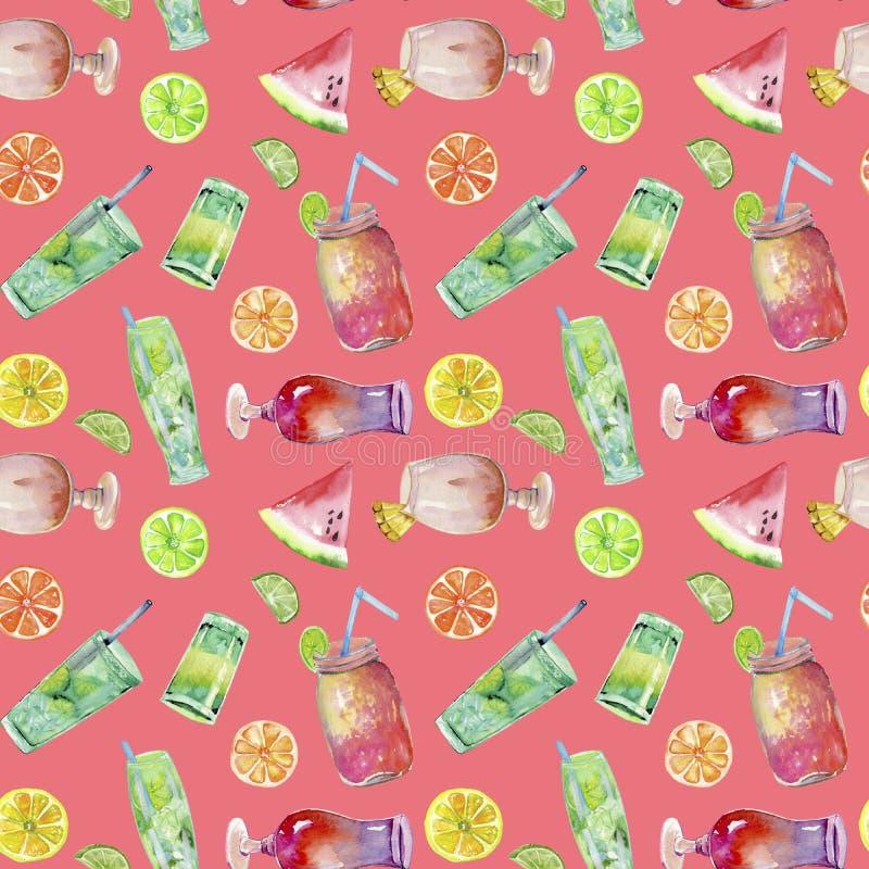 Картина коктеилей и плодоовощей акварели безшовная иллюстрация вектора