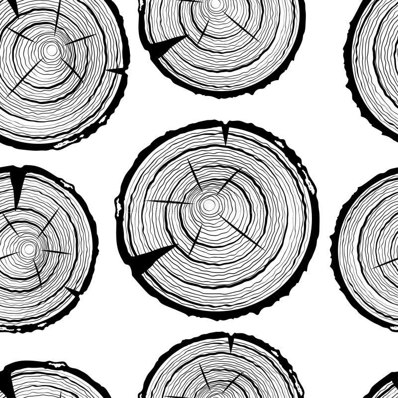 Картина колец дерева безшовная Предпосылка ствола дерева отрезка пилы иллюстрация штока