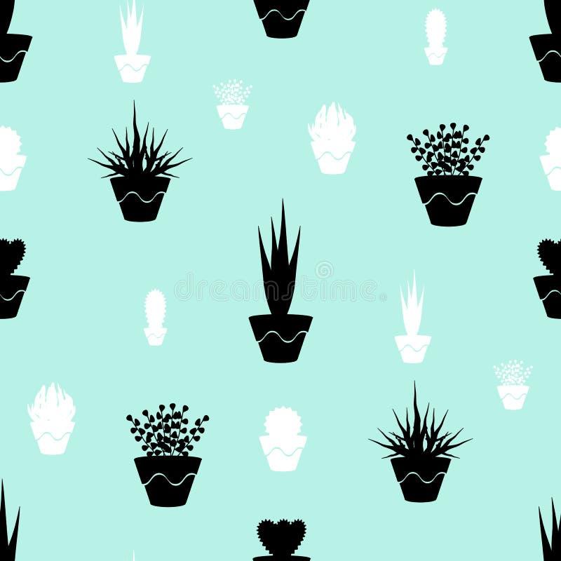 Картина комнатного растения в горшке безшовная бесплатная иллюстрация