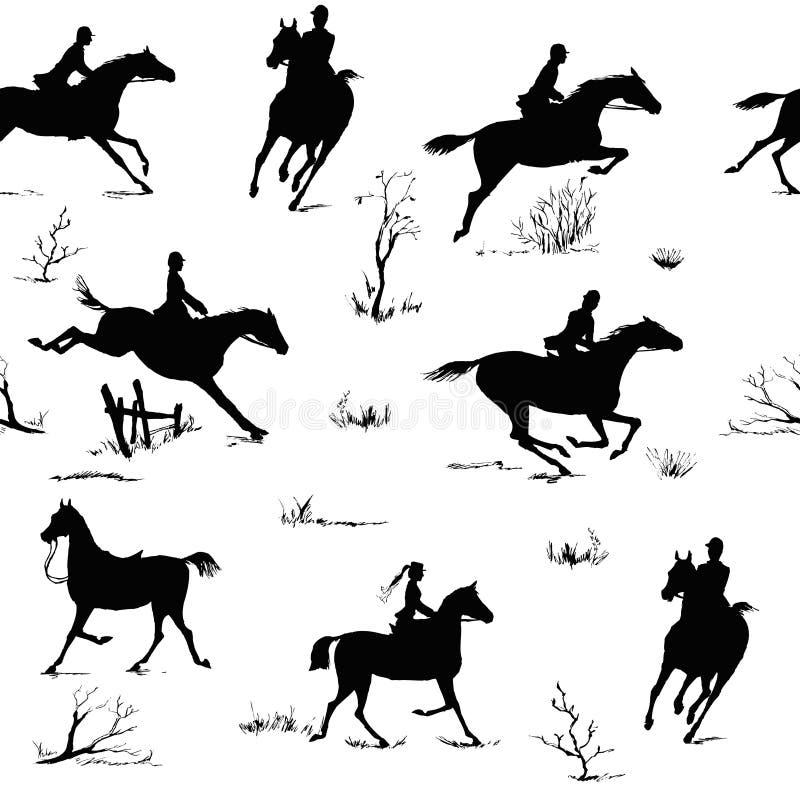 Картина конноспортивного силуэта стиля верховой езды безшовная Черно-белый английский стиль звероловства лисы иллюстрация вектора