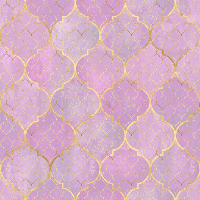 Картина конспекта акварели геометрическая безшовная Арабские плитки r Текстура мозаики Watercolour винтажная бесплатная иллюстрация
