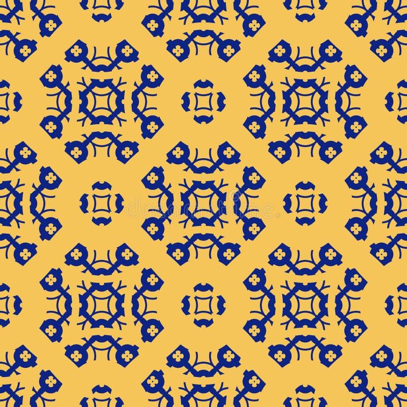 Картина конспекта вектора флористическая геометрическая безшовная в цветах желтого цвета и сини военно-морского флота бесплатная иллюстрация