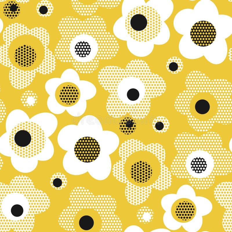Картина конспекта геометрическая желтая флористическая безшовная бесплатная иллюстрация