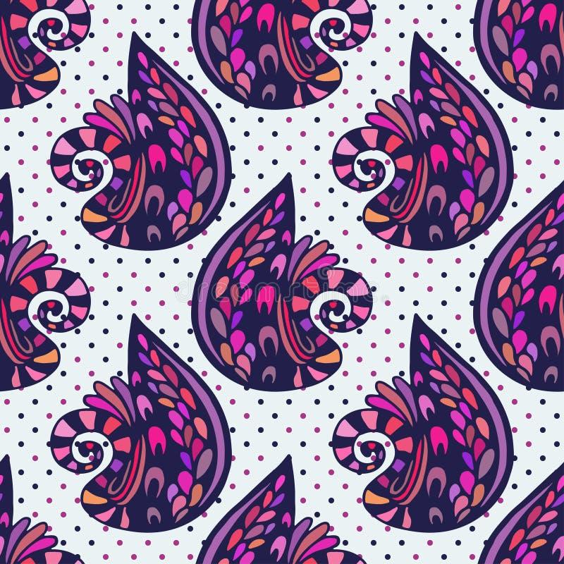 Картина конспекта иллюстрации вектора безшовная Абстрактная красочная предпосылка фиолета doodles иллюстрация вектора