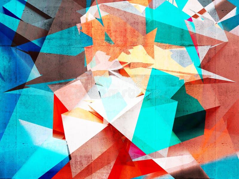 Картина конспекта красочная хаотическая полигональная стоковое изображение rf