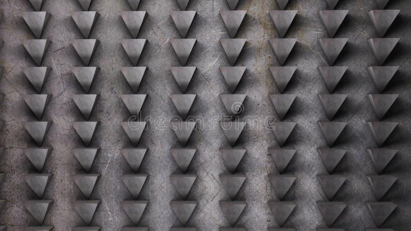 Картина конспекта стены металла треугольников 3D представляет иллюстрацию стоковая фотография