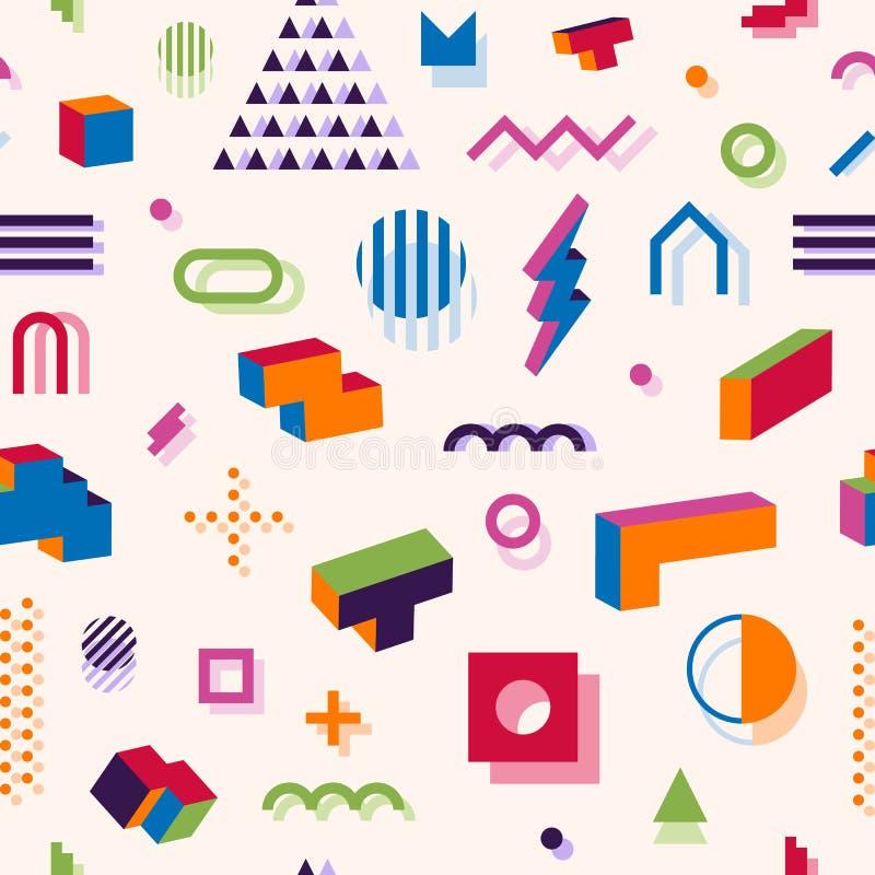 Картина конспекта стиля Мемфиса геометрическая безшовная Состав 11 бесплатная иллюстрация