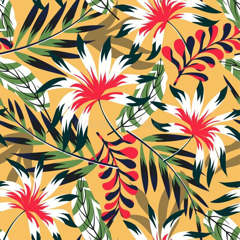 Картина конспекта тенденции тропическая безшовная с листьями и заводами на яркой желтой предпосылке o Печать джунглей Флористичес иллюстрация вектора