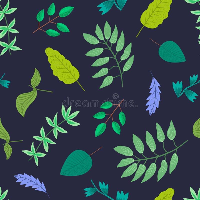 Картина контраста темно-синая с чувствительными листьями иллюстрация вектора