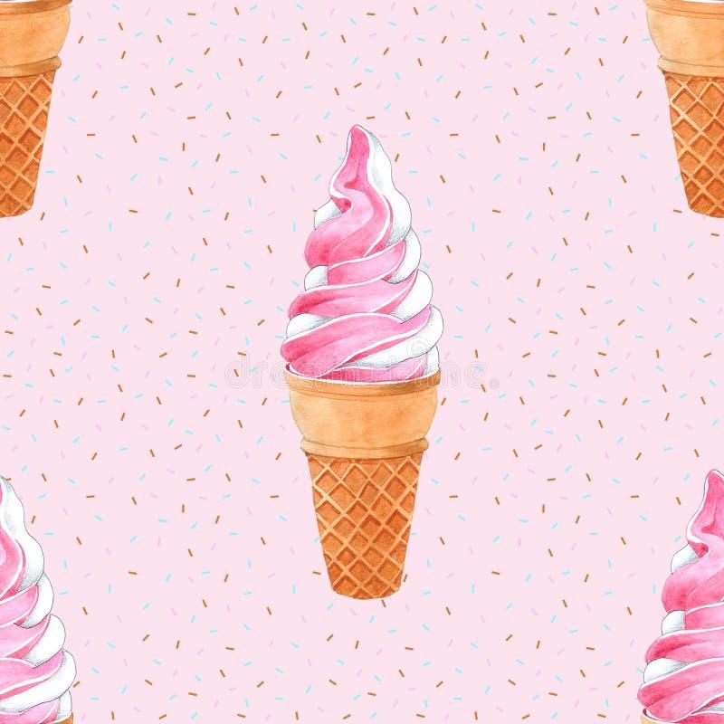 Картина конуса мороженого безшовная для упаковки, нарисованной руки акварели иллюстрация штока