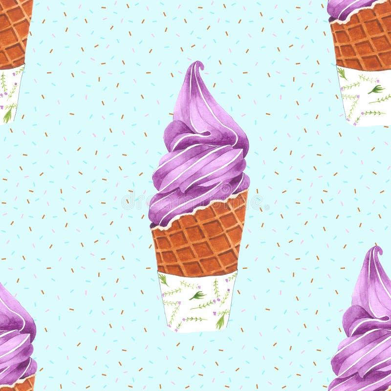 Картина конуса мороженого безшовная для упаковки, нарисованной руки акварели иллюстрация вектора