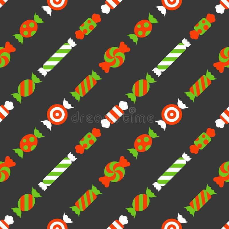 Картина конфеты помадок безшовная, backgroun рождества кондитерскаи бесплатная иллюстрация