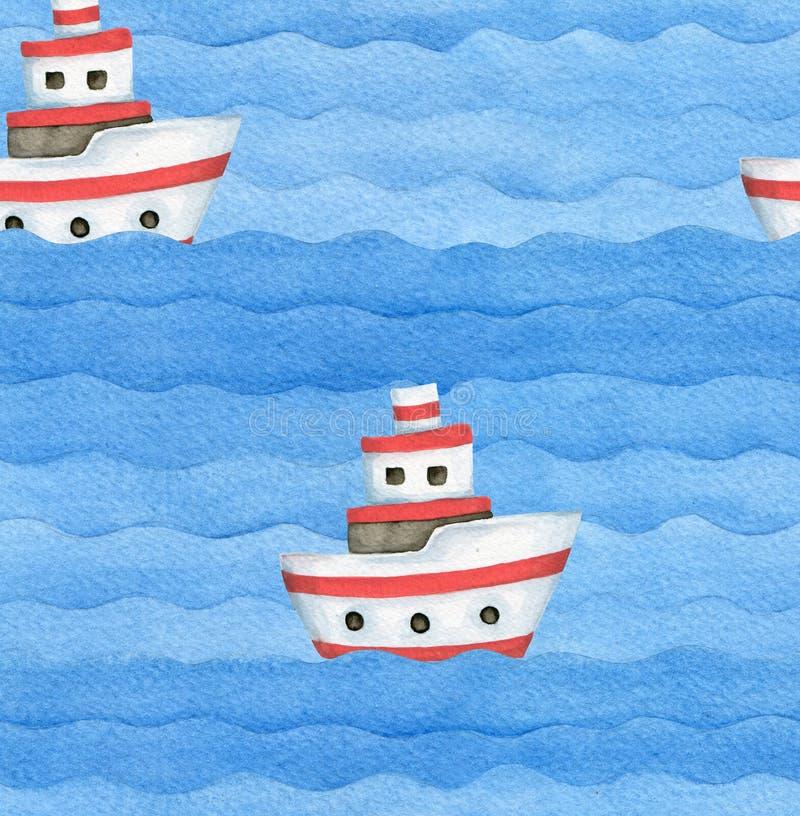 Картина корабля перемещения моря акварели лета безшовная стоковое изображение