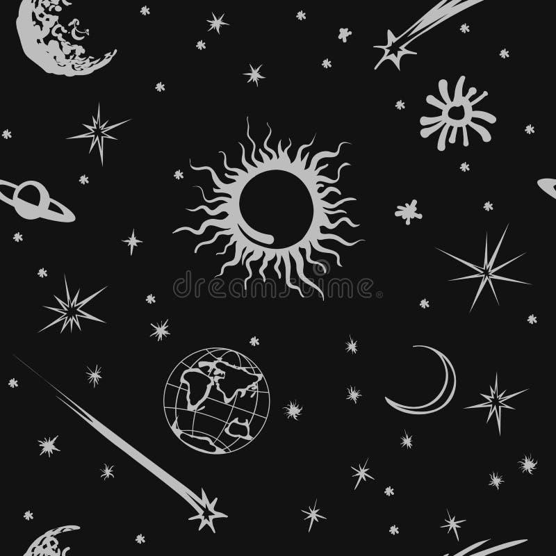 Картина космоса вектора безшовная Солнце, луна, земля бесплатная иллюстрация